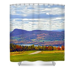 Lake Willoughby In Autumn Shower Curtain by Catherine Sherman