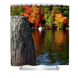 Lake Winnepesaukee Dock With Foliage In The Distance Shower Curtain