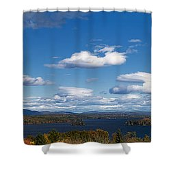 Lake Winnipesaukee New Hampshire In Autumn Shower Curtain by Stephanie McDowell