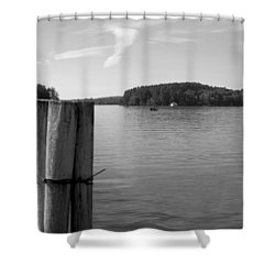 Lake Winnipesaukee Pilings Shower Curtain