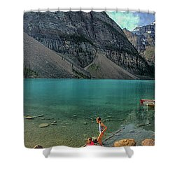 Lake With Kayaks Shower Curtain