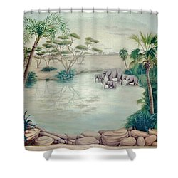 Lake With Oasis And Palm Trees Shower Curtain