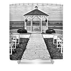 Shower Curtain featuring the photograph Lakefront Wedding by Frozen in Time Fine Art Photography