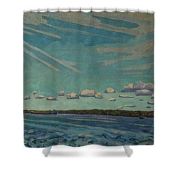 Laker Headed Downstream Shower Curtain by Phil Chadwick