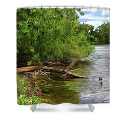 Lakeside Blossoms Shower Curtain