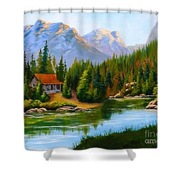 Lakeside Cabin Shower Curtain