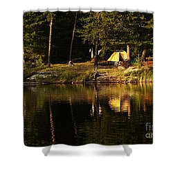 Shower Curtain featuring the photograph Lakeside Campsite by Larry Ricker