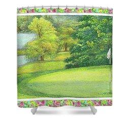Lakeside Golfing Illustration Shower Curtain