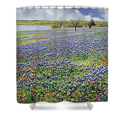 Shower Curtain featuring the photograph Lakeside Texas Bluebonnets by David and Carol Kelly