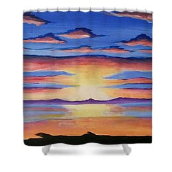 Shower Curtain featuring the painting Lakeview Sunset by Carol Duarte