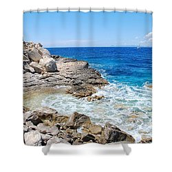 Lakka Coastline On Paxos Shower Curtain