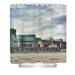 Shower Curtain featuring the photograph Lambeau Field Painterly Edition by Joel Witmeyer