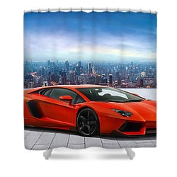 Lambo Cityscape Shower Curtain by Peter Chilelli