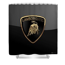 Lamborghini - 3d Badge On Black Shower Curtain by Serge Averbukh