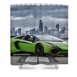 Shower Curtain featuring the photograph #lamborghini #aventadorsv #superveloce #roadster #print by ItzKirb Photography