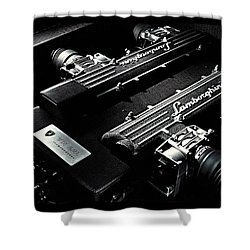 Shower Curtain featuring the digital art Lamborghini Engine by Marvin Blaine