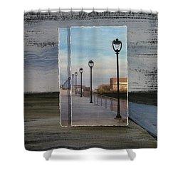 Lamp Post Row Layered Shower Curtain by Anita Burgermeister