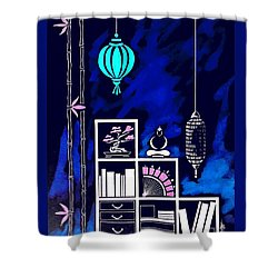 Lamps, Books, Bamboo -- Negative Shower Curtain