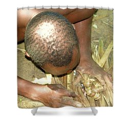 Lamu Island - Man Breathe Life Into A Fire 1 Shower Curtain