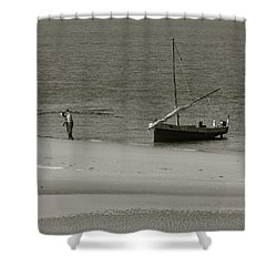 Lamu Island - Wooden Fishing Dhow Getting Unloaded - Black And White Shower Curtain