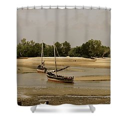 Lamu Island - Wooden Fishing Dhows At Low Tide With Pier - Antique Shower Curtain