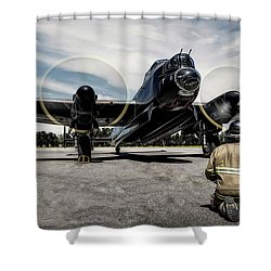 Shower Curtain featuring the photograph Lancaster Engine Test by Brad Allen Fine Art