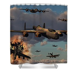 Lancaster Heavy Bombers Of The Royal Shower Curtain by Mark Stevenson