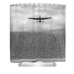 Shower Curtain featuring the photograph Lancaster Over The Derwent Dam Bw Version by Gary Eason