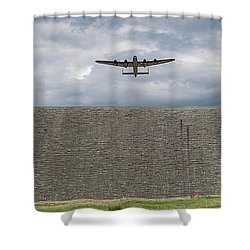 Shower Curtain featuring the photograph Lancaster Over The Derwent Dam by Gary Eason
