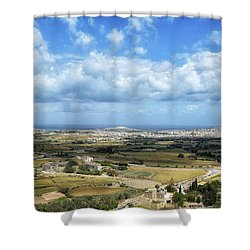 Land And Sky Shower Curtain by Stephan Grixti