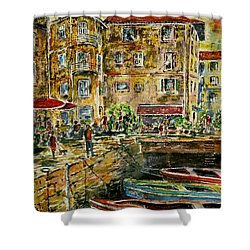 Shower Curtain featuring the painting Land And Water And People Therebetween by Alfred Motzer