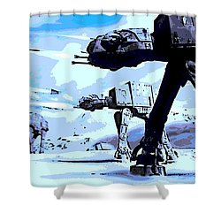 Land Battle Shower Curtain by George Pedro