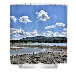 Land Bridge From Bar Harbor To Bar Island - Maine Shower Curtain