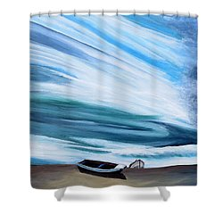 Land Meets Sky Shower Curtain by Marilyn  McNish