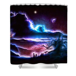 Land Of Nightmares Shower Curtain by Mario Carini
