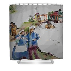 Land Of Windmill Clogs  And Tulips Album Shower Curtain