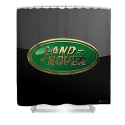 Land Rover - 3d Badge On Black Shower Curtain by Serge Averbukh