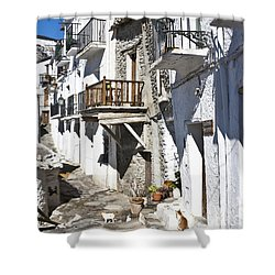 Shower Curtain featuring the photograph Street In Capileira Puebla Blanca by Heiko Koehrer-Wagner