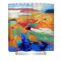 Shower Curtain featuring the painting Landforms, Suggestion Of Place by Gary Coleman