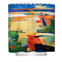 Shower Curtain featuring the painting Landforms, You've Never Been Here by Gary Coleman