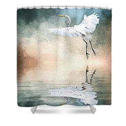 Landing At Dawn Shower Curtain by Cyndy Doty