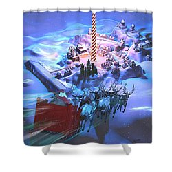Landing At The North Pole Shower Curtain by Dave Luebbert