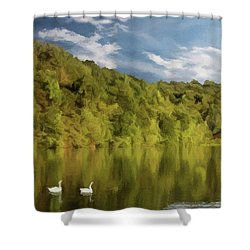 Shower Curtain featuring the photograph Landingville Lake Pennsylvania by David Dehner