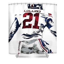 Shower Curtain featuring the mixed media Landon Collins New York Giants Pixel Art 1 by Joe Hamilton