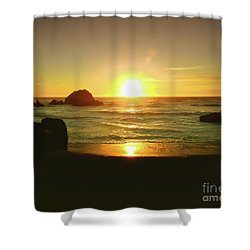 Lands End Sunset-the Golden Hour Shower Curtain