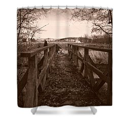 #landscape #bridge #family #tree Shower Curtain by Mandy Tabatt