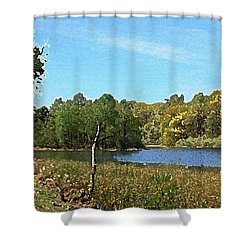 Landscape, Countryside In The Netherlands, Lakes, Meadows, Trees Shower Curtain