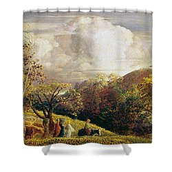 Landscape Figures And Cattle Shower Curtain by Samuel Palmer