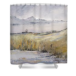 Landscape In Gray Shower Curtain by Carolyn Doe