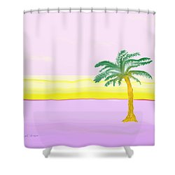 Landscape In Pink And Yellow Shower Curtain